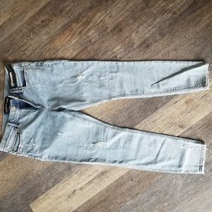 Express midrise distressed skinny jeans